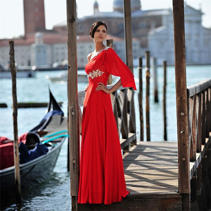 Hot Sale 2016 Red Long Prom Dress Butterfly Musilm font b Islamic b font font b