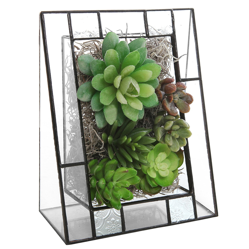 New High Quality Hot Sale Triangular Shape Glass Succulent Planter Box/Angled Terrarium Display Stand Home Garden Decoration