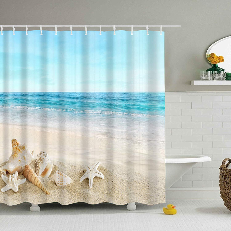 Blue Sky Beach Theme Shower Curtain