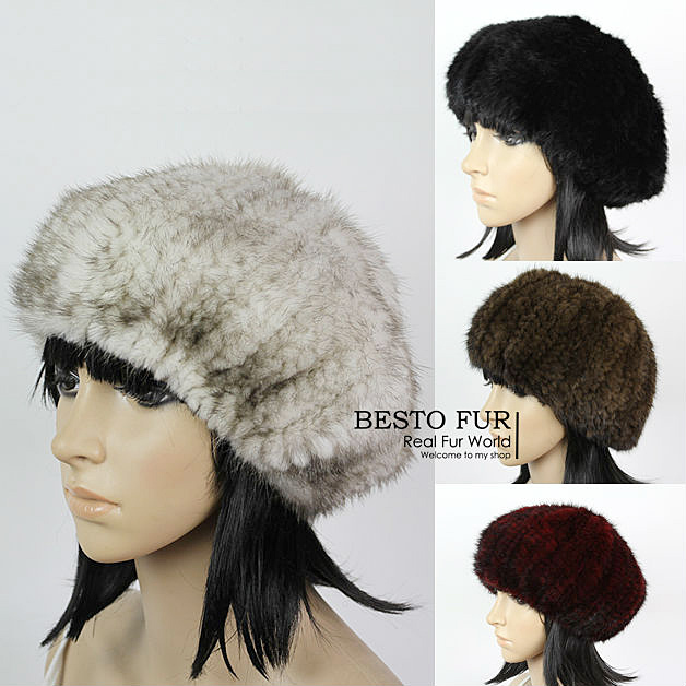 GTC154  2014 new  style winter warm stretchable knitted women luxury genuine mink fur painter cap elastic lady beanie beret hat