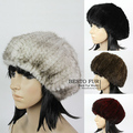 Gtc154 2014 nuevo estilo caliente del invierno elástico de punto de las mujeres de lujo de piel de visón auténtico cap elástico señora beanie sombrero de la boina del pintor