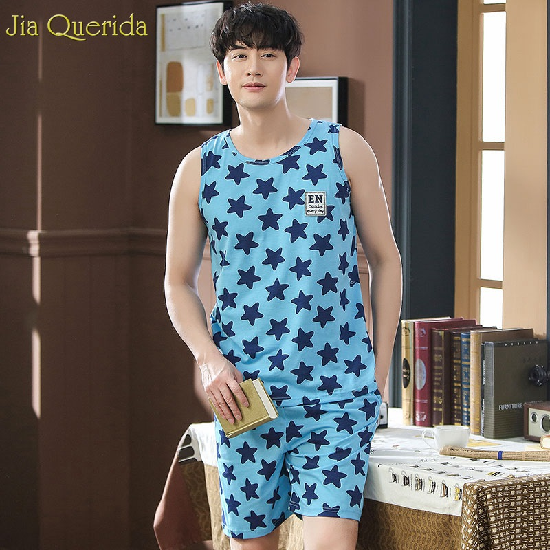 Men Sleepwear 2019 Cotton Stars Printing Summer Short Pajamas Sleevesless Cool Pijama Mans Cotton Pyjamas Two Brandy Pajama Sets