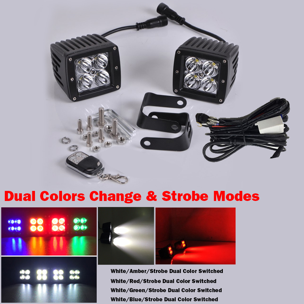 "Pair 24W White//Green Strobe Off-road Led Work Light Cube 3X3/"" Pods /& Free Wiring"