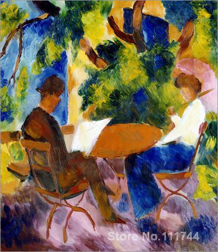 Arte su tela coppia al tavolo da giardino da august macke - Arte e giardino ...