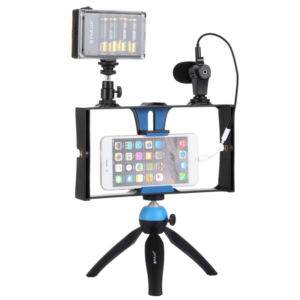 Image 3 - PULUZ Smartphone Video Rig   LED Studio Light   Video Microphone    Mini Tripod Mount Kits with Cold Shoe Tripod Head for iPhonPhoto  Studio Accessories