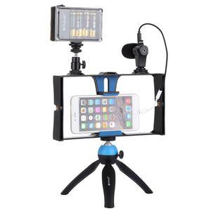 Image 3 - Puluz smartphone vídeo rig + led studio luz microfone de vídeo mini tripé montagem kits com sapato frio tripé cabeça para iphon