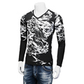 New Designs Men's T Shirt Dragon Print Ink Painting Long Sleeved Slim Fit Mens T-shirts V-Neck Casual Tops Tees Men Plus 5XL