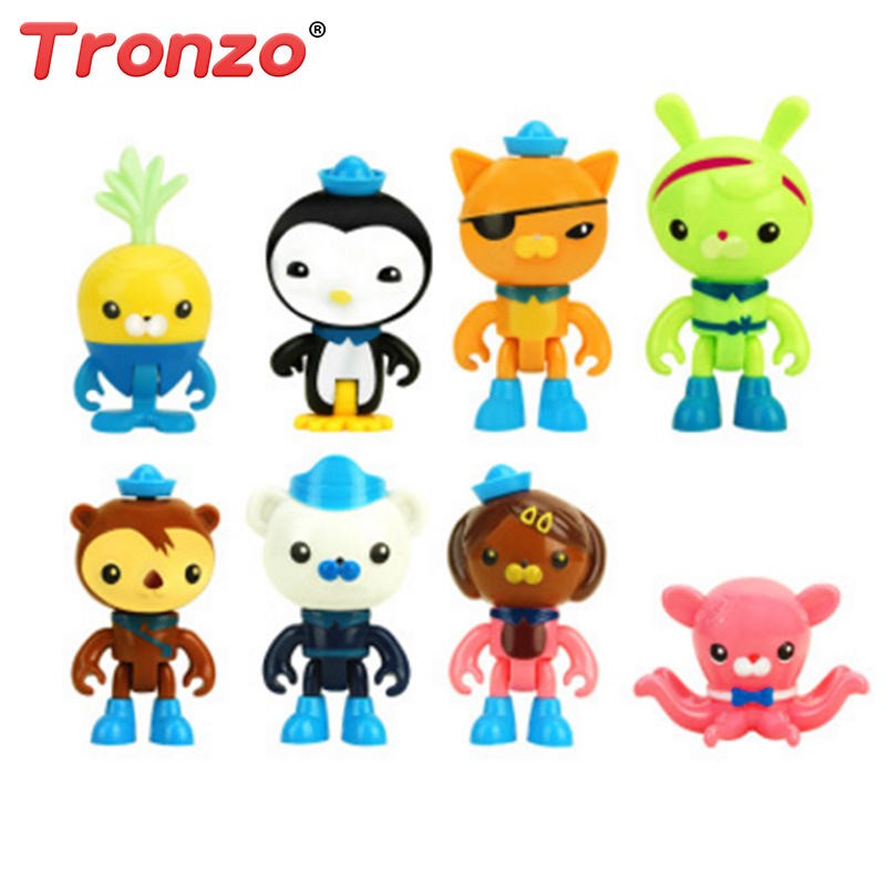 Tronzo 8pcs/Lot The Octonauts Figure Toys Peso Captain Barnacles T Kwazii Shellington Action Figure Doll For Baby Children 8pcs set the octonauts cartoon action figures kids toys captain barnacles medic peso model children birthday gifts with box