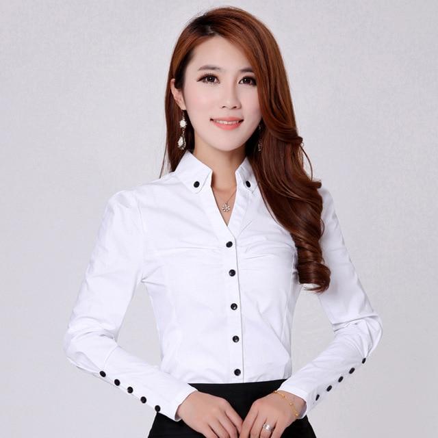 bf88fa9f9 Primavera 2018 mujer moda Casual blanco Blusa de manga larga Oficina  elegante camisa Mujer Camisas Blusas