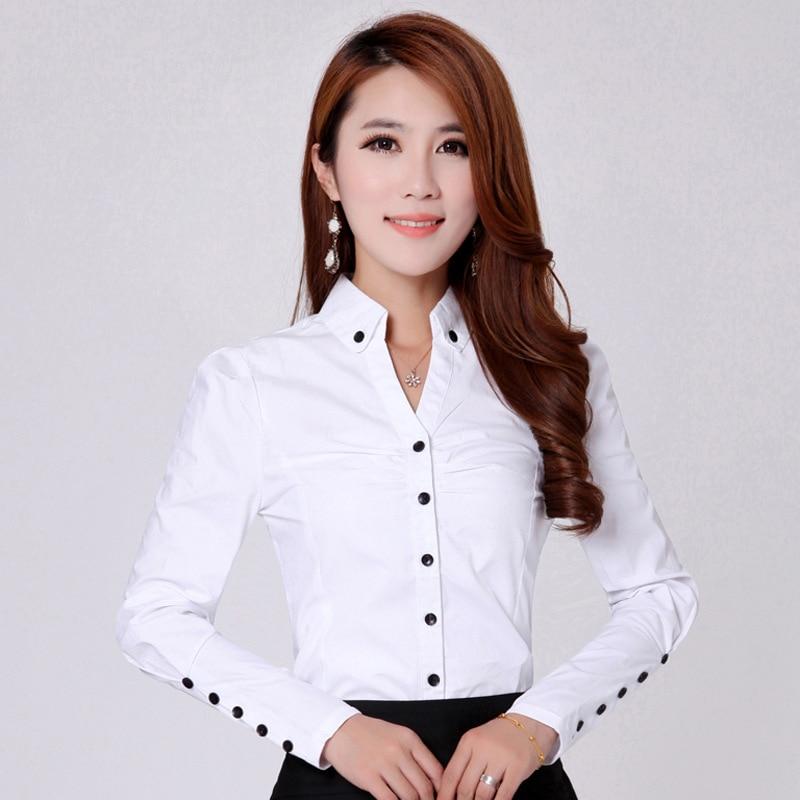 8aac27f05645 € 13.22 28% de DESCUENTO Primavera 2018 mujer moda Casual blanco manga  larga Oficina blusa elegante camisa Mujer Camisas Blusas algodón sólido ...