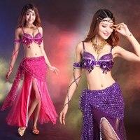 Summer Sexy Bellydance Costume S M L 3pcs Bra Belt Skirt Featured Mesh High Quality Women