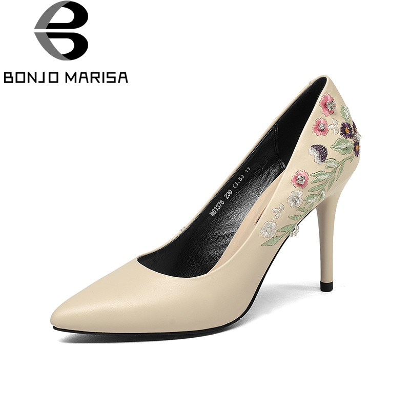 BONJOMARISA 2018 Spring Autumn Fashion Embroider Cow Leather Women Pumps Shallow High Heels Ol Shoes Woman Flower Lady Shoe