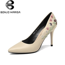 BONJOMARISA 2018 Spring Autumn Fashion Embroider Cow Leather Women Pumps Shallow High Heels Ol Shoes Woman
