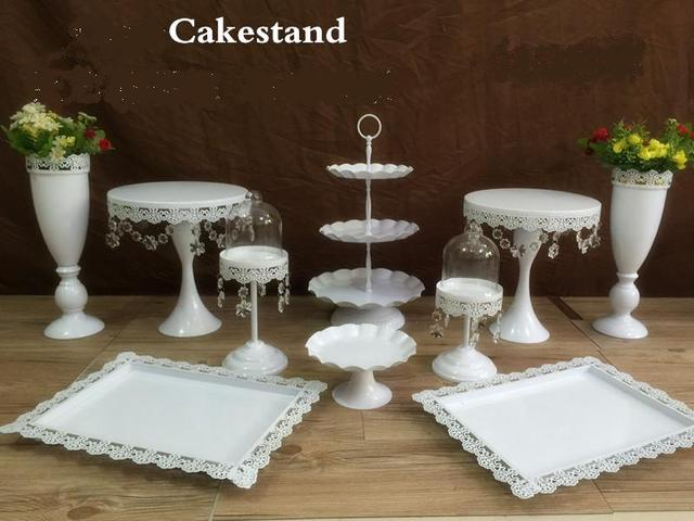 2017 snow white crystal wedding cake stand wedding table flower vase dessert table decor cake candy : wedding cake plate - pezcame.com