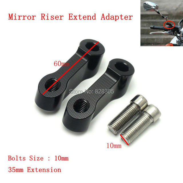 Black Mirrors Extension Riser Extend Adapter For Yamaha MT-09 MT-07 Fazer FZ-09 V-max 1700--Bolts Size 10mm