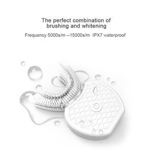 Image 3 - Akıllı 360 ° akıllı otomatik Sonic elektrikli diş fırçası USB şarj U tipi diş fırçası diş beyazlatma mavi işık yetişkinler için