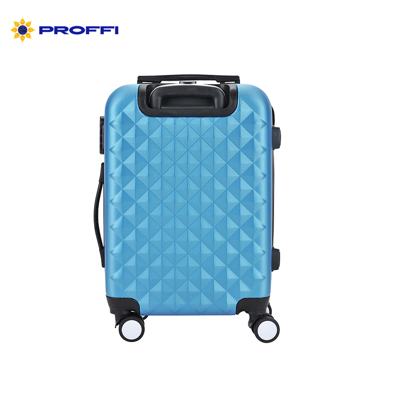 Bright blue PROFFI TRAVEL PH8367darkblue, S, plastic suitcase with combination lock PH8367darkblue on wheels