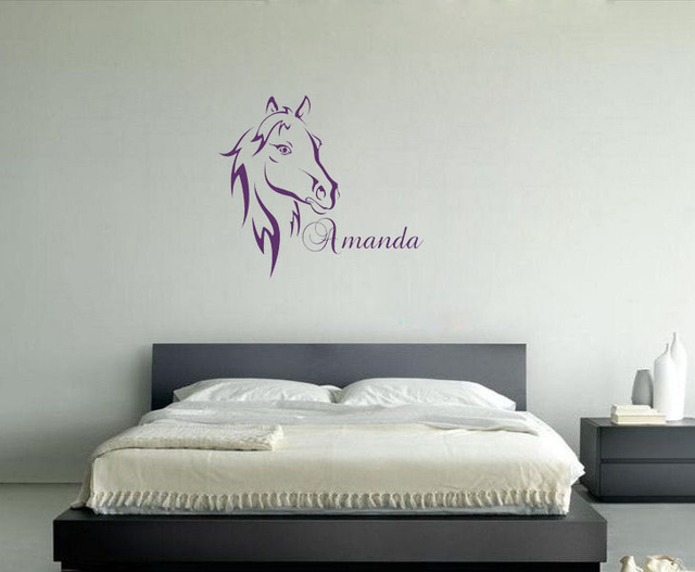 Aliexpresscom  Buy Custom Name Text Horse Head Wall Art Vinyl - Custom name vinyl wall decals   how to remove