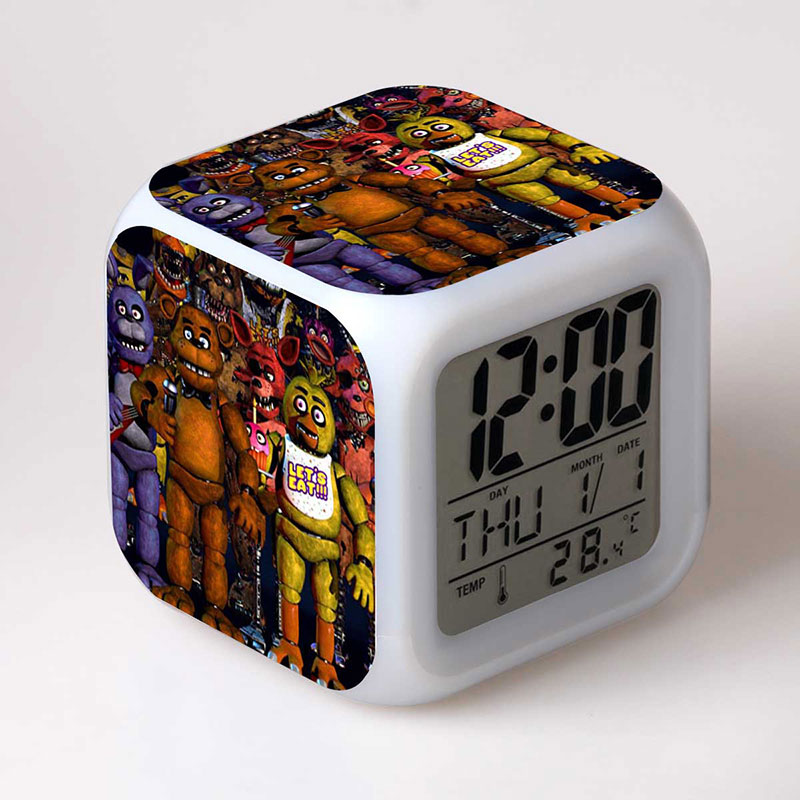 In Stock Five Nights At Freddy's 4 FNAF Bonnie Foxy Freddy Fazbear Bear Clock Colorful LED Light freddy Toys for kids