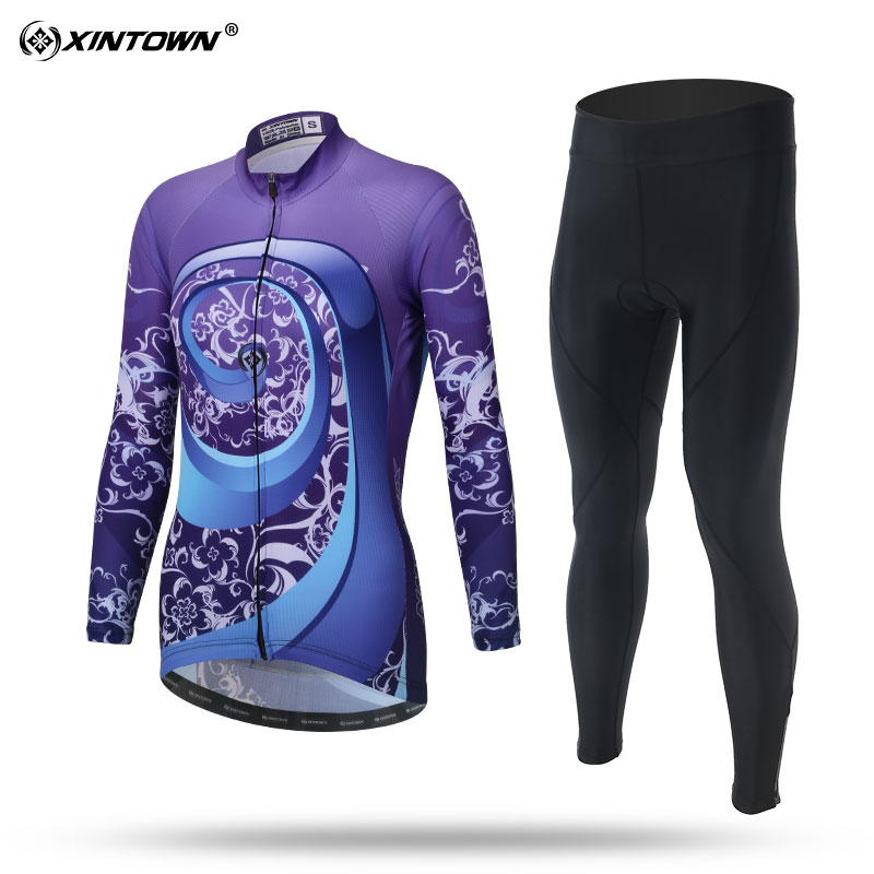 XINTOWN Long Sleeve Cycling Jersey Set MTB Bike Clothing Bicycle Jerseys Clothes For W Maillot Ropa Ciclismo