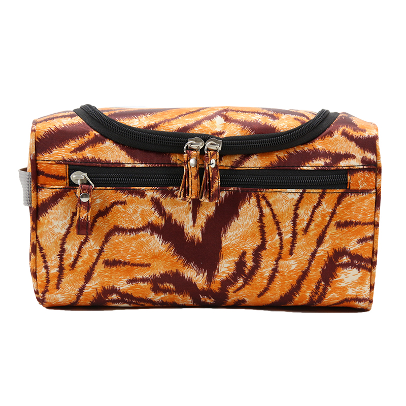 Wulekue Orange Leopard Men Hanging Makeup Bag Nylon Travel Organizer Cosmetic Bag Large Capacity Makeup Case Wash Toiletry Bag