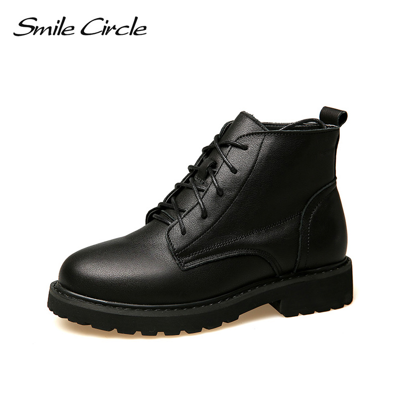 лучшая цена Smile Circle Ankle Boots for Women Genuine Leather Short Boots Autumn Winter British style Martin boots women Platform Shoes