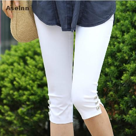 Aselnn Hot! 2019 Summer   Pants   &   Capris   Women Fashion Mid Waist Casual   Capris   Plus Size Ladies Pencil   Pants   Female S-3xl