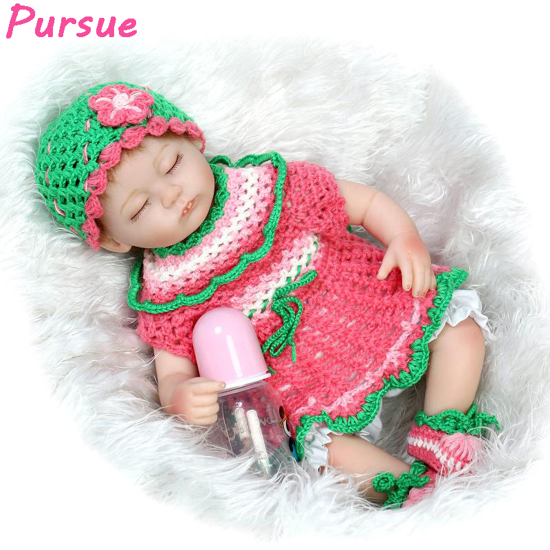 Pursue 17 /43cm American Girl Silicone Reborn Baby Lifelike Dolls Realistic Baby Doll Toys for Children Doll Christmas Gift