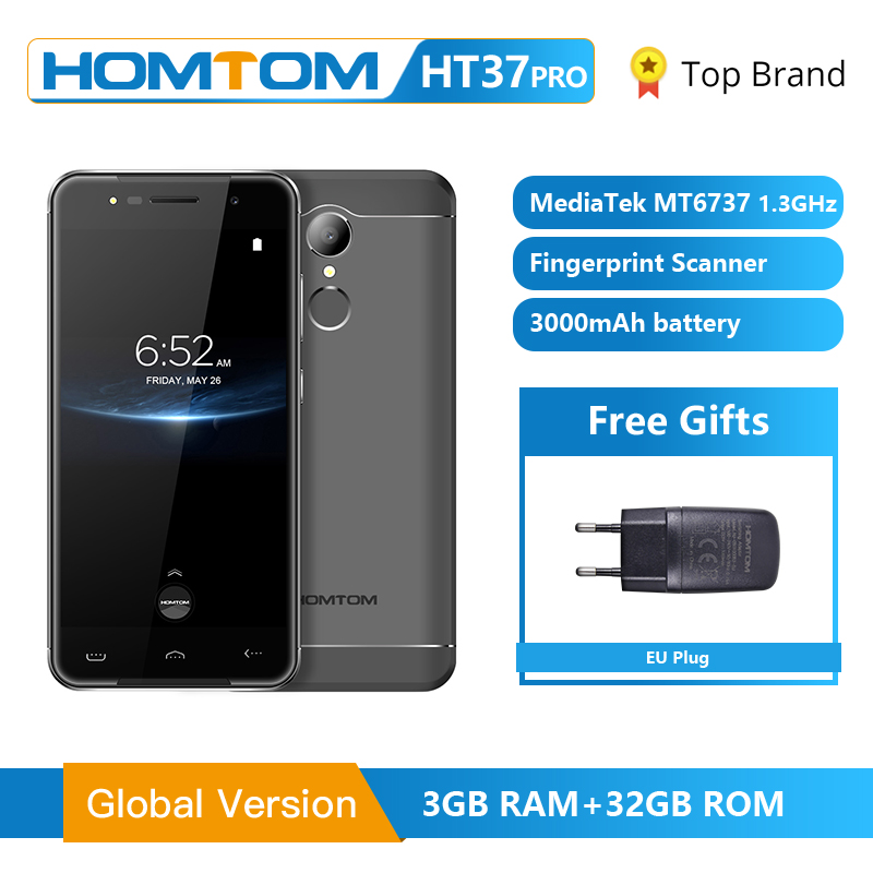 Original HOMTOM 4G MT6737 5.0 Polegada HT37 Pro Smartphones HD Android 7.0 GB 13MP 3 + 32 Phon Celular 3000mAh Fingerprint ID Telefone Móvel