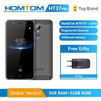 Téléphone portable Original HOMTOM HT37 Pro Smartphone 4G MT6737 5.0 pouces HD Android 7.0 téléphone portable 3 + 32GB 13MP 3000mAh identification d'empreintes digitales