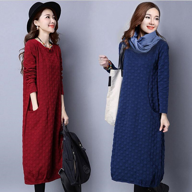 d371dbc4b736 2019 Autumn Winter Fashion Korean Style Women Casual Dress Long Sleeve With  Pockets Big Size Bottom Dress Vestidos