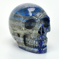 3.2 ''Natural Lapis Lazuli Carved Crystal Skull Statue Healing Stone Carving Super Realistic Crystal Skull Sculpture Home Decor