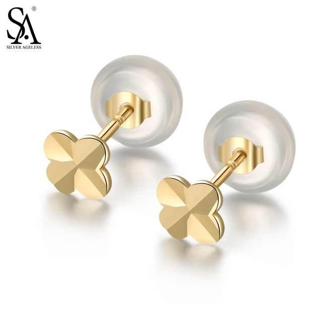 Silver Ageless 9k Yellow Gold Clover Stud Earrings For Women Fine Jewelry 2017 New Arrival