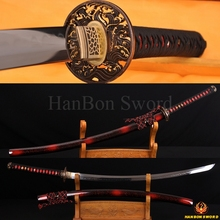 Top Quality Japanese Samurai Sword KATANA Clay Tempered 1095Steel 1.26″SORI FULL TANG BLADE VERY SHARP WAVE BRASS TSUAB KOSHIRAE