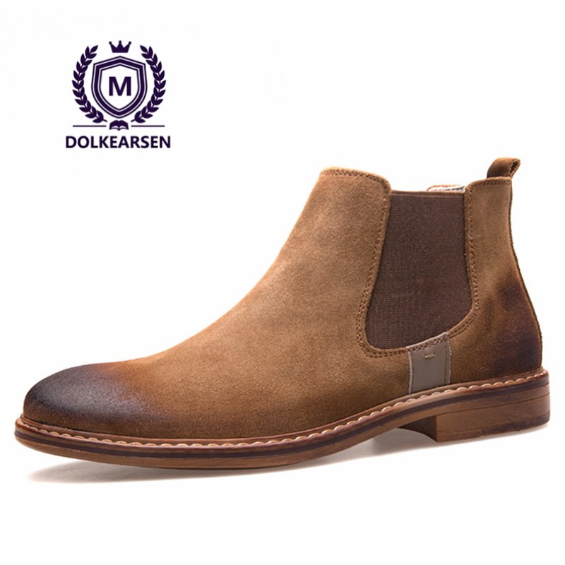 dolkearsen high chelsea boots cow suede pointed toe