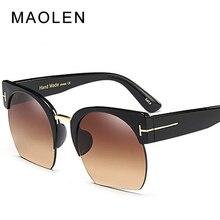 MAOLEN 2018 New Semi-Rimless Sunglasses Women Brand Designer Clear Lens Sun Glasses For Fashion Sunglass Vintage