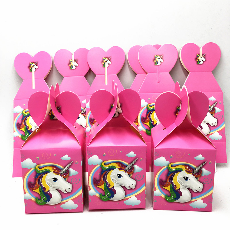 6pcs Lot Unicorn Candy Boxes Kids Birthday Party Favors