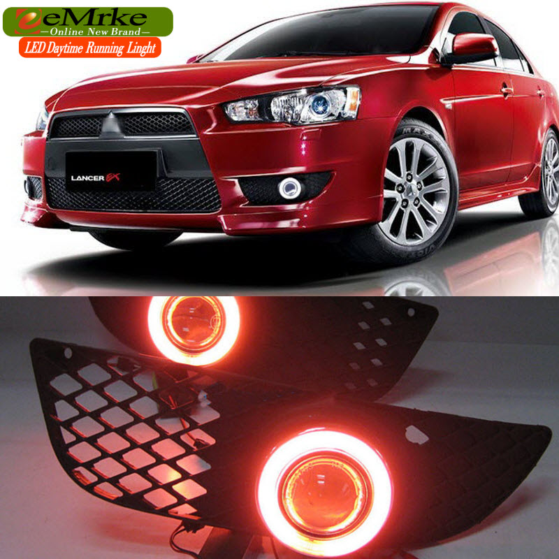 eeMrke For Mitsubishi Lancer EX LED Angel Eye DRL Daytime Running Lights Halogen H11 55W Fog Light Kits eemrke daytime running lights for mazda6 sedan wagon led angel eye drl halogen h11 55w fog lamp kits
