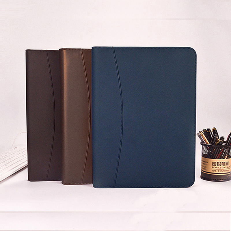 Portable A4 Padfolio Business Portfolio Writing Pad Holder Folder Document Cover Organizer A4 PU Leather for Business zipper 641 writing