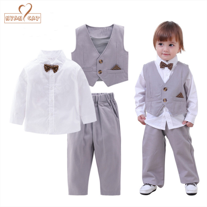 NYAN CAT Infant Baby Boy Formal Wear Shirt+Vest+pants 3pcs gentlemen bow tie clothes Kid toddler wedding party birthday outfits nyan cat baby boy clothes short sleeves gentleman bow tie vest romper hat 2pcs set outfit jumpsuit rompers party cotton costume
