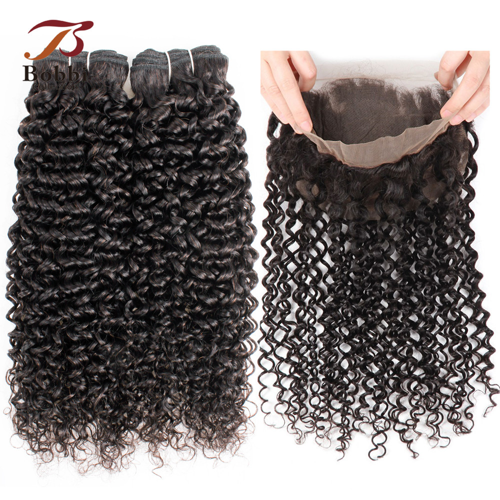 Bobbi Collection Jerry Curly 360 Lace Frontal with Bundle Brazilian Remy Human Hair Natural Black Color