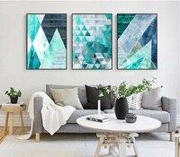 Абстрактный геометрический Бирюзовый холсте Плакаты Печать на холсте Nordic картины настенные панно для Гостиная Home Decor комплект из 3 предмето...