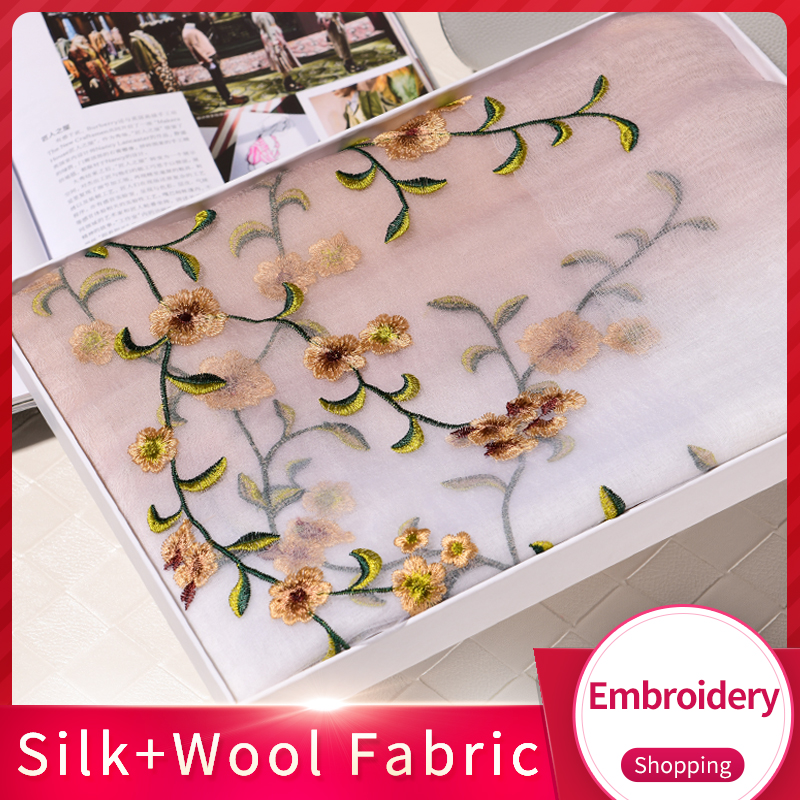 Handmade Embroidery Silk Wool Blending Scarf Women 2019 Shawls and Wraps for Ladies Oversize Shawl Foulard Chiffon Silk Scarves