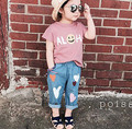 Boys Girls Jeans Autumn Fashion Heart Print Kids Denim Trousers Casual Elastic Waist Pants Children Jeans Baby Girls Bebe Jeans