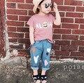 Calça Jeans meninos Meninas Outono Moda Coração Impressão Crianças Denim Calça Casual Calças Cintura Elástica Crianças calças de Brim Do Bebê Meninas Calça Jeans Bebe