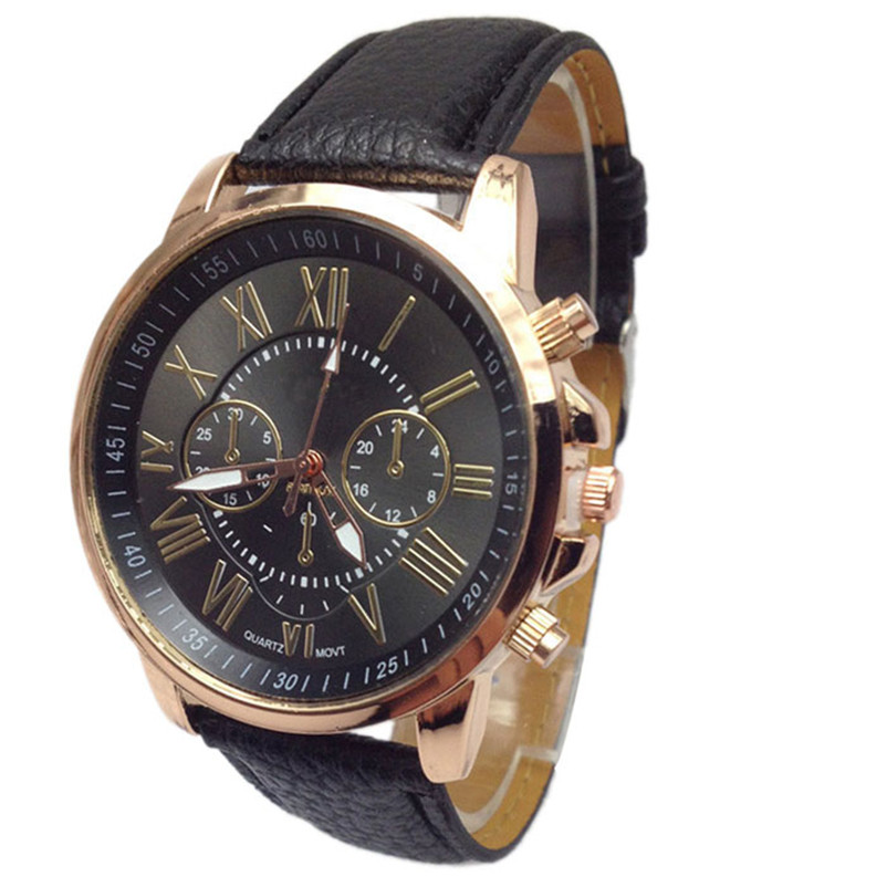 Novel design New Luxury Fashion Faux Leather Men Blue Ray Glass Quartz Analog Watches Casual Cool