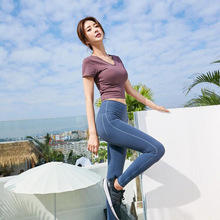 Women Yoga Sets Tight V-neck beauty back short sleeve T-shirt+High Waist Gym Leggings 2PS/Sets Suits Fitness Pants Set