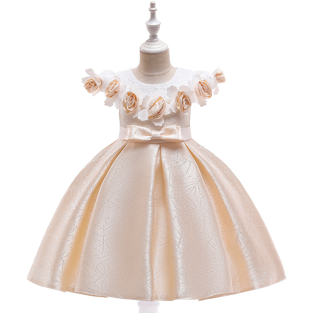 Fashion  A-Line  Short Sleeves  Champagne Flower Girl  Dresses For Wedding Satin Kids  Birthday Evening Party Dresses 2019