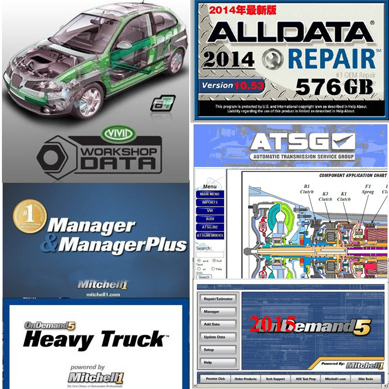 New Alldata software programs auto repair automotive car diagnostic tool professional mitchell ondemand vivid workshop data atsg