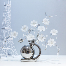 White brown Ceramic creative Crystal flower home decor room decoration handicraft Crafts Figurines & Miniatures wedding Gifts
